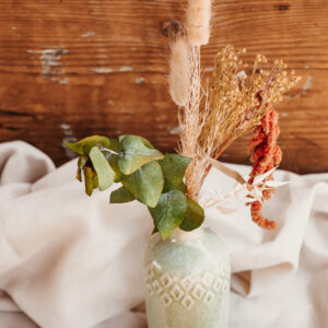 Porzellan Vase mit Trockenblumen L