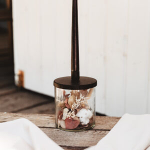 Kerzenhalter mit Trockenblumen Schwarz